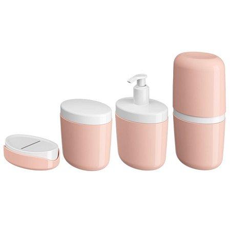 Kit Suporte Escova Dente Saboneteira Porta Sabonete Líquido Algodão Cotonete Rosa - Coza