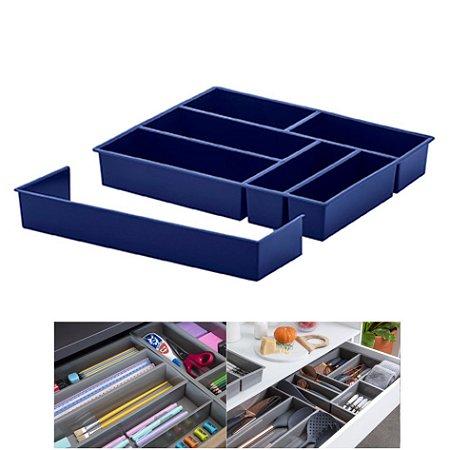 Organizador De Gaveta Extensível Divisor Talheres Utensílios 40x33x6,5cm - Paramount - Azul Marinho