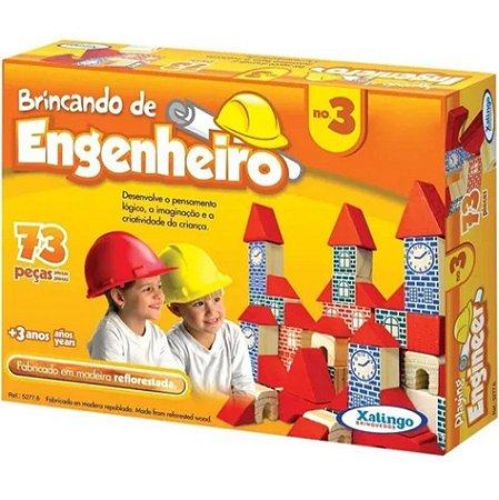 Brincando De Engenheiro 73 Peças Blocos Madeira 52776 - Xalingo