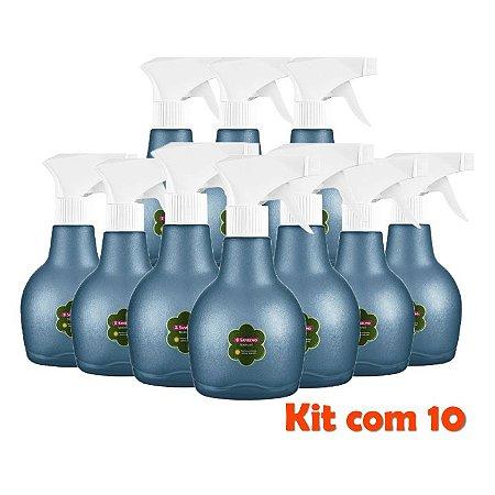 Kit 10 Borrifador Pulverizador Spray Frasco Álcool Gel Água Pequeno 350ml Gatilho - 512 Sanremo