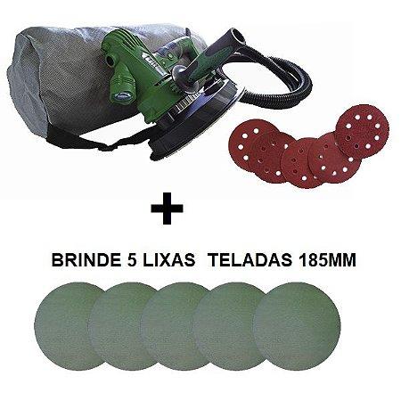 """Kit Lixadeira De Mão Para Parede LXM-CS 180mm 7"""" 8002 220v - Nauber + Pacote de Lixa Pronet 7"""" G120 C/ 5un - Nauber"""