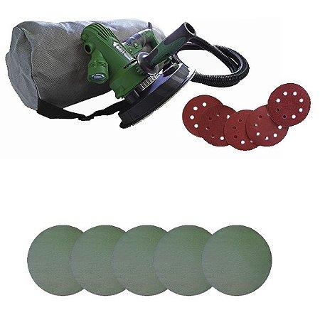 """Kit Lixadeira De Mão Para Parede LXM-CS 180mm 7"""" 8002 220v - Nauber + Pacote de Lixa Pronet 7"""" G240 C/ 5un - Nauber"""