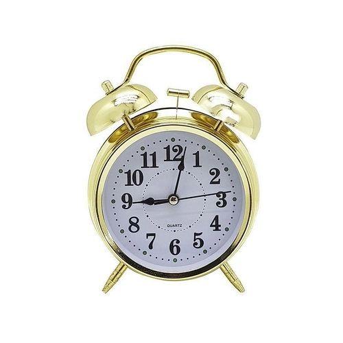 Relógio De Mesa Despertador Pequeno Dourado