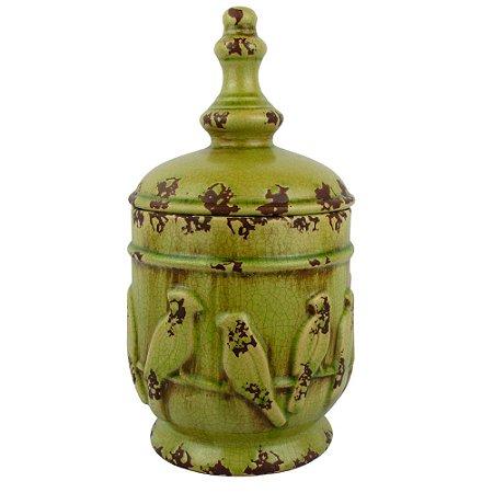 Vaso Verde Com Pássaros no Galho