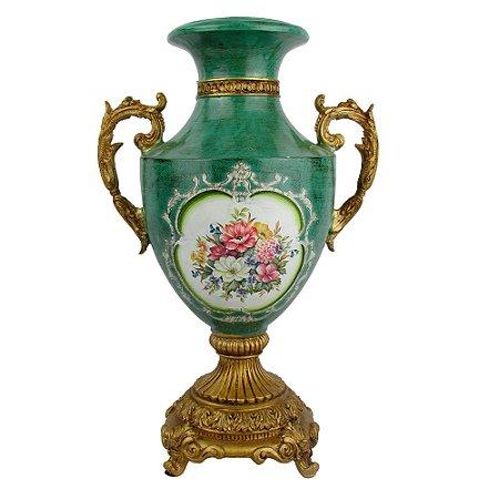 Vaso Verde Clássico Com Alça Em Resina