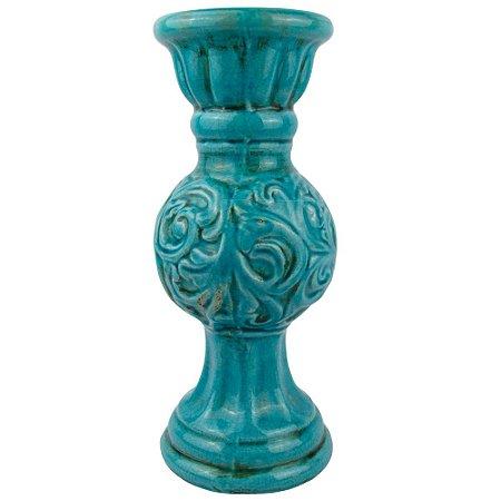Castiçal Cerâmica Azul Turquesa Bojudo