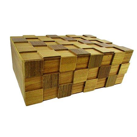 Caixa Decorativa De Madeira Geométrica Média 24x8