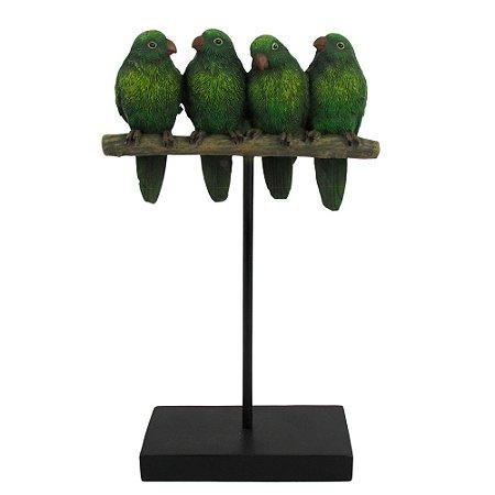 Escultura Decorativa Papagaios No Tronco