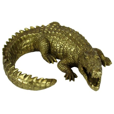 Escultura Crocodilo Dourado