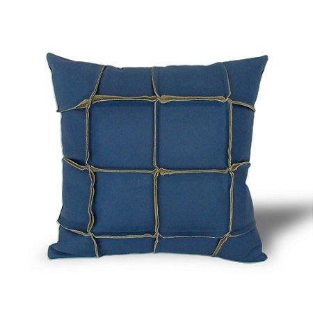 Almofada Couro Natural Azul Marinho 48x48