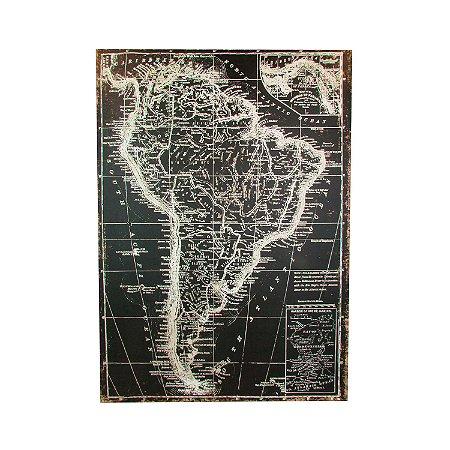 Quadro Tela Decorativo Mapa Brasil Preto e Branco 1,40 X 1