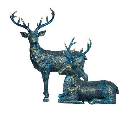 Esculturas Veados Decoração 2 Peças Azul