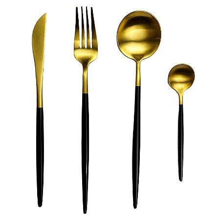 Conjunto De Talheres Luxo 4 Peças Aço Dourado