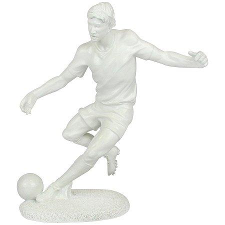 Escultura Decorativa Jogador De Futebol Branco