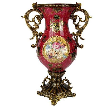 Vaso Vermelho Classico Com Flores e Pé Com Alça
