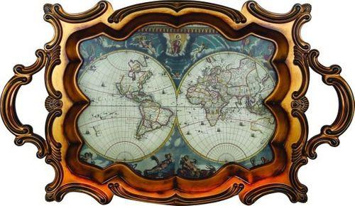 Bandeja Decorativa Clássica Madeira Mapa
