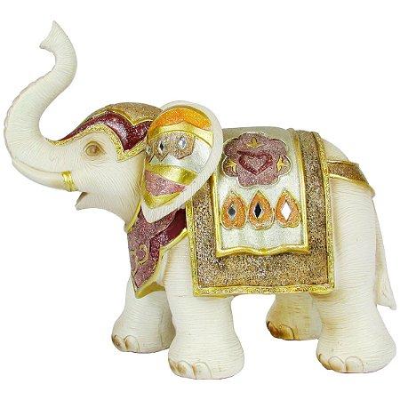 Escultura Elefante Decorativo Com Detalhes Dourado