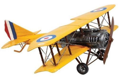 Avião Amarelo Vintage Em Metal