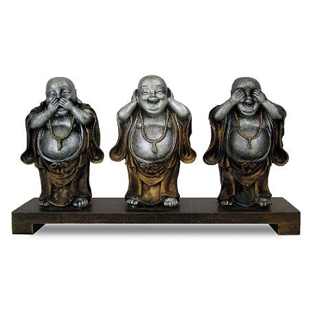 Escultura Com 3 Budas Pratas Em Resina