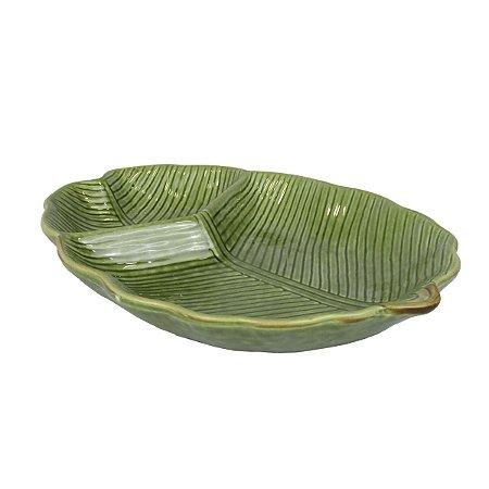 Petisqueira De Folha Verde Com Divisória De Cerâmica