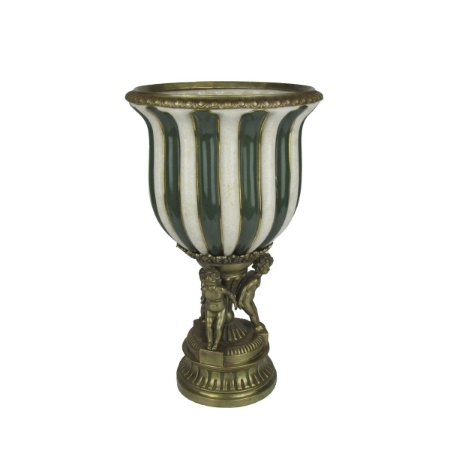 Vaso Decor De Porcelana Anjos Em Bronze