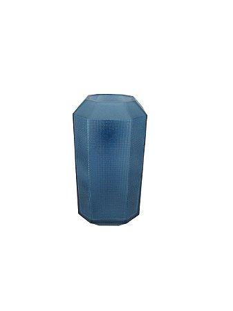 Vaso Alto Azul Quadrado Em Relevo