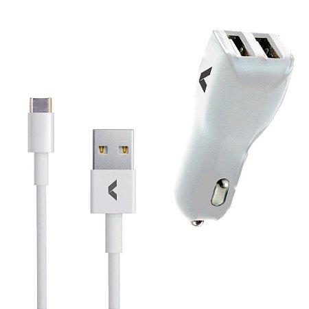 Carregador Kit Veícular - USB Tipo C