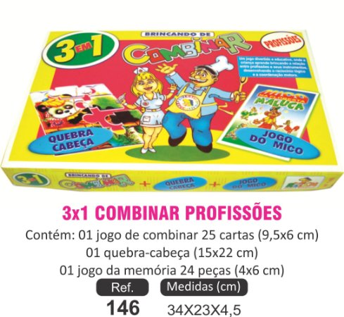 BRINQUEDO 3X1 COMBINAR PROFISSÕES