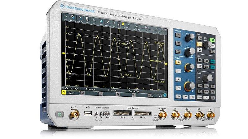 Rohde & Schwarz RTB2004 + RTB-B242 – Osciloscópio 200MHz, 4 Canais, Tela de 10,1″ touchscreen, Resolução de 10bits, Amostragem de 2,5 GS/s