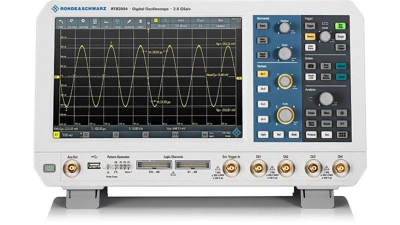 Rohde & Schwarz RTB2004+ RTB243 – Osciloscópio 300MHz, 4Canais, Tela de 10,1″ touchscreen, Resolução de 10bits, Amostragem de 2,5 GS/s