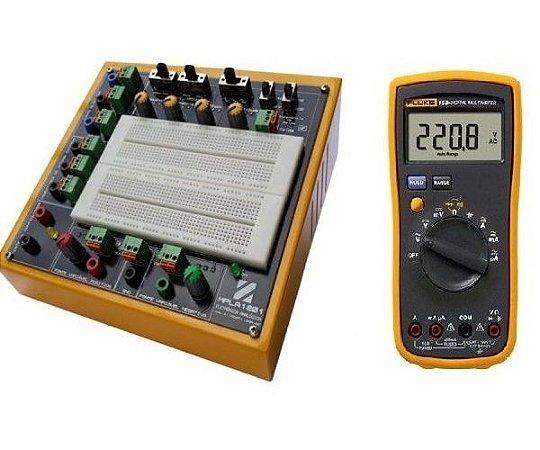 Pacote Educacional I – Módulo Didático de Eletrônica Analógica com Gerador de Funções MPLA1201GF + Multímetro Digital Fluke 15B+