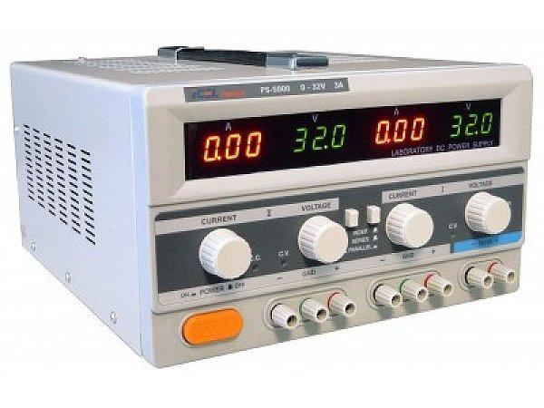 ICEL PS 5000 - Fonte de Alimentação Simétrica com duas saídas variáveis: 0 ~ 32V, 0 ~ 3A e uma fixa: 5V / 3A
