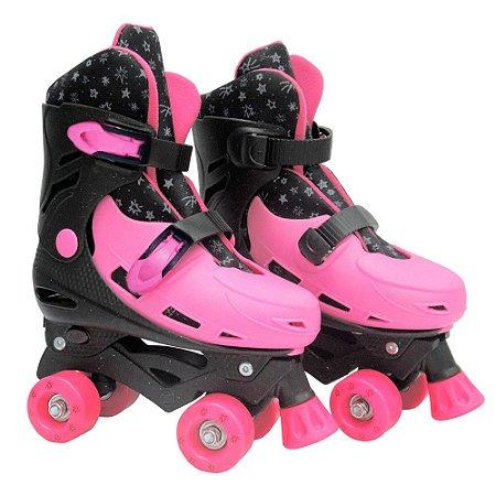 Patins Infantil Roller Ajustável Pink 4 Rodas - Dm Radical