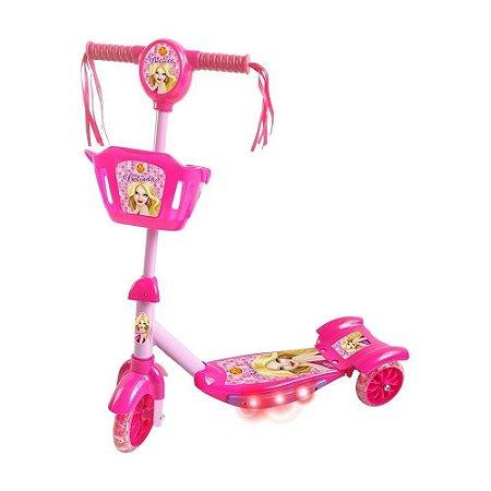 Patinete Infantil 3 Rodas Cesta Rosa - Dm Radical