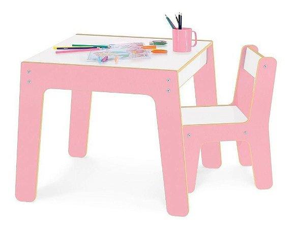Conjunto Mesa Infantil Em Madeira Com Cadeira Rosa Mesinha Didatica - Junges