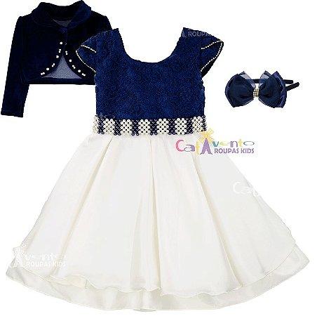 dbeec6cc788 Vestido Infantil Festa Luxo Princesa Realeza Daminha com Bolero e Tiara