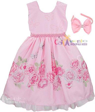 Vestido Floral Festa Luxo Infantil Borboleta com Tiara - Catavento ... 1927b457838e