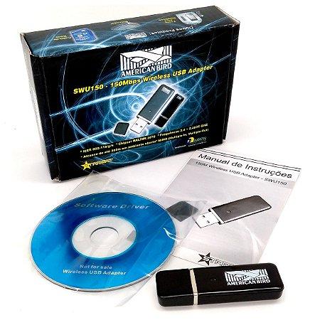 Adaptador Usb Wifi Internet sem Fio Wireless SWU 150 150mbps Lemon American Bird