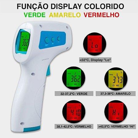 3 Termômetro Digital Infravermelho + 3 Oxímetro de Pulso Digital de Dedo e Tela Colorida Oled