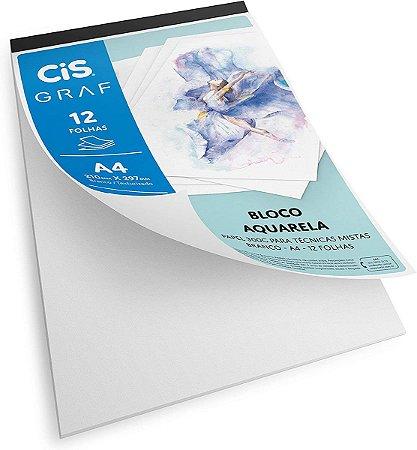 Bloco Papel Aquarela Cis Graf 300g A4 12 Folhas Acid Free