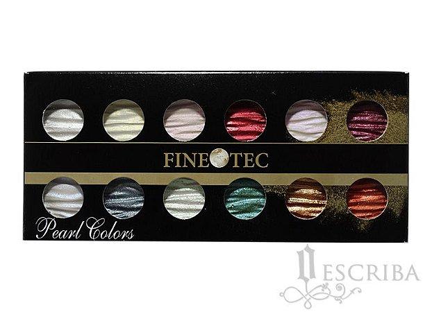 Aquarela Para Caligrafia E Desenho Pearl Colors Finetec 12 Cores Perolizadas