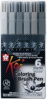 Conjunto Koi Coloring Brush Pen Sakura - 6 Tons de Cinza