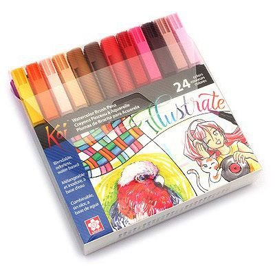 Conjunto Koi Coloring Brush Pen Sakura - 24 Cores