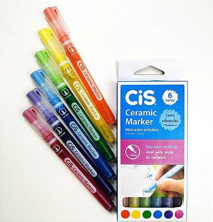 Caneta Permanente Para Cerâmica Ceramic Marker 6 Cores