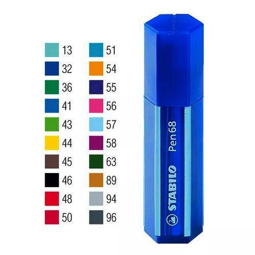 Estojo Azul Caneta Stabilo Pen 68 Com 20 Cores