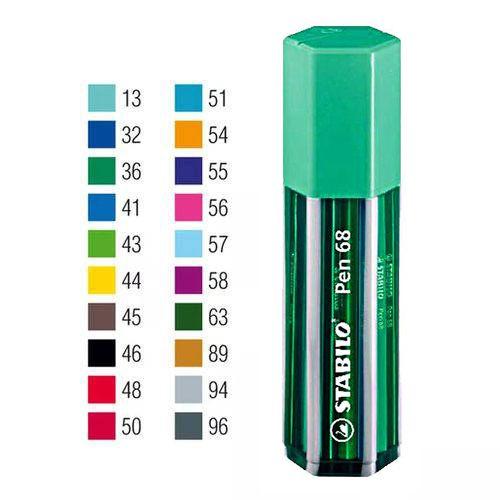 Estojo Verde Caneta Stabilo Pen 68 Com 20 Cores