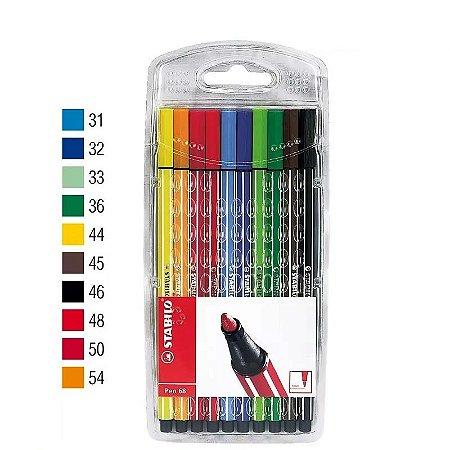 Estojo Caneta Stabilo Pen 68 Com 10 Cores