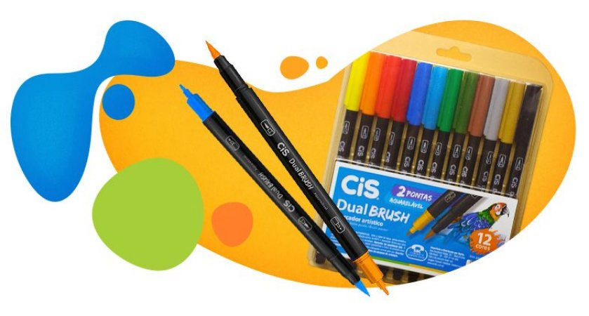 Caneta Pincel Cis Dual Brush Aquarelavel Com 12 Unidades