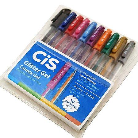 Caneta Gel Glitter Gel Cis Com 10 Unidades Cores Sortidas