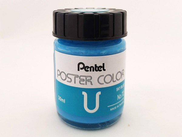 Tinta Guache Para Caligrafia e Desenho Pentel Poster Color Azul Céu 72 - 30ml